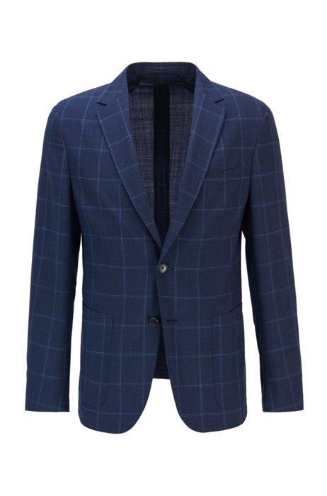 Plain-check slim-fit jacket in virgin wool, Dark Blue