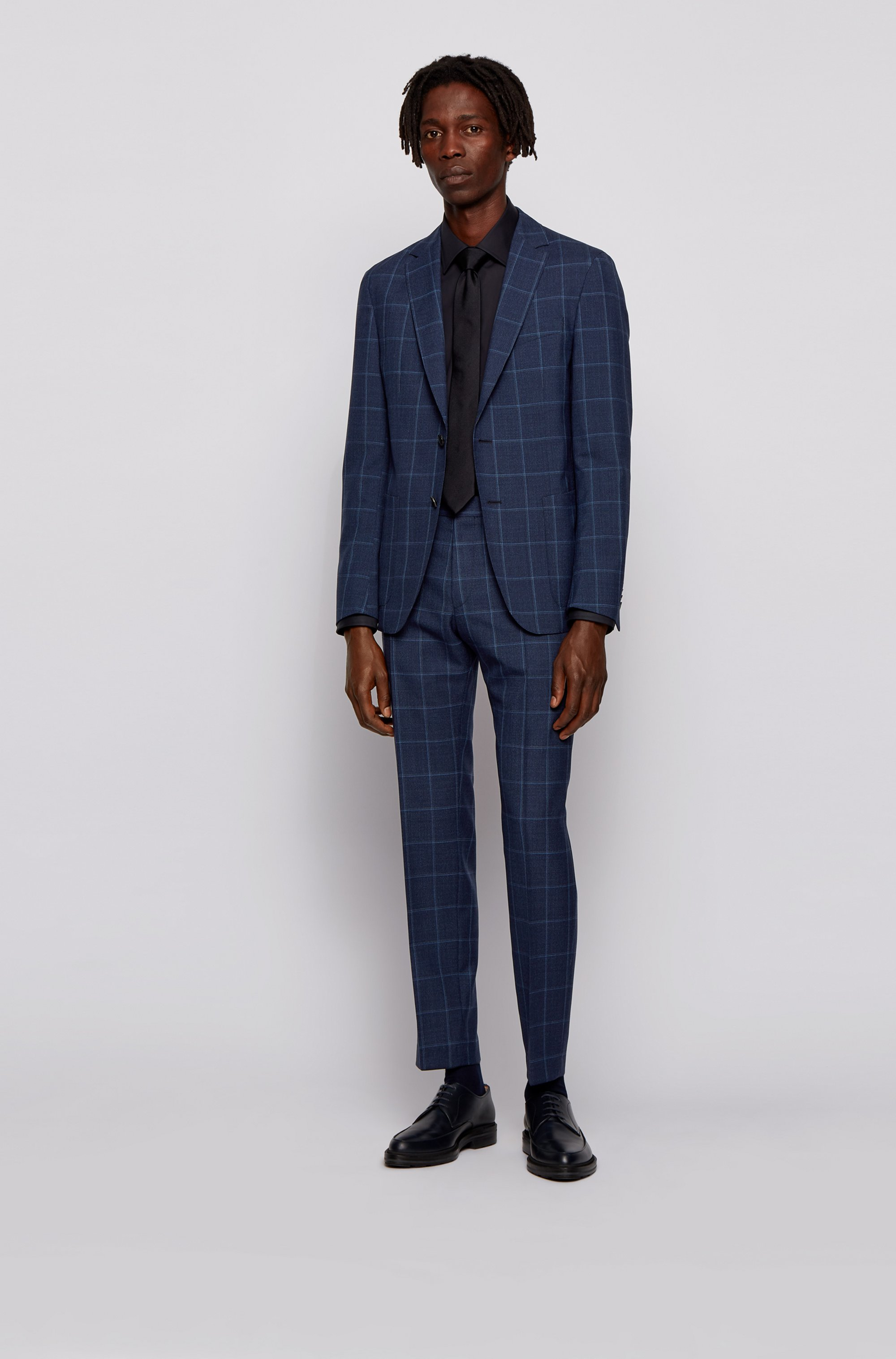 Plain-check slim-fit jacket in virgin wool
