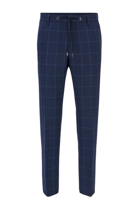 Plain-check slim-fit trousers in virgin wool, Light Blue