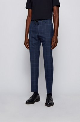 Plain-check slim-fit trousers in virgin wool, Light Blue