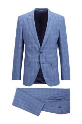Slim-fit suit in checked virgin wool, Blue Patterned