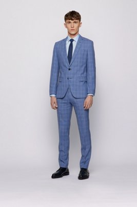 Slim-fit suit in checked virgin wool, Blue Patterned