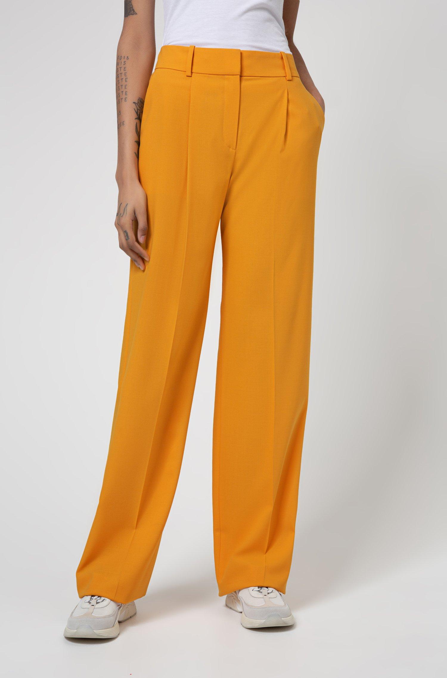 Regular-Fit Hose aus Stretch-Krepp mit weitem Beinverlauf, Gelb