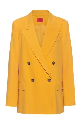 Double-breasted relaxed-fit jacket in stretch crepe, Yellow