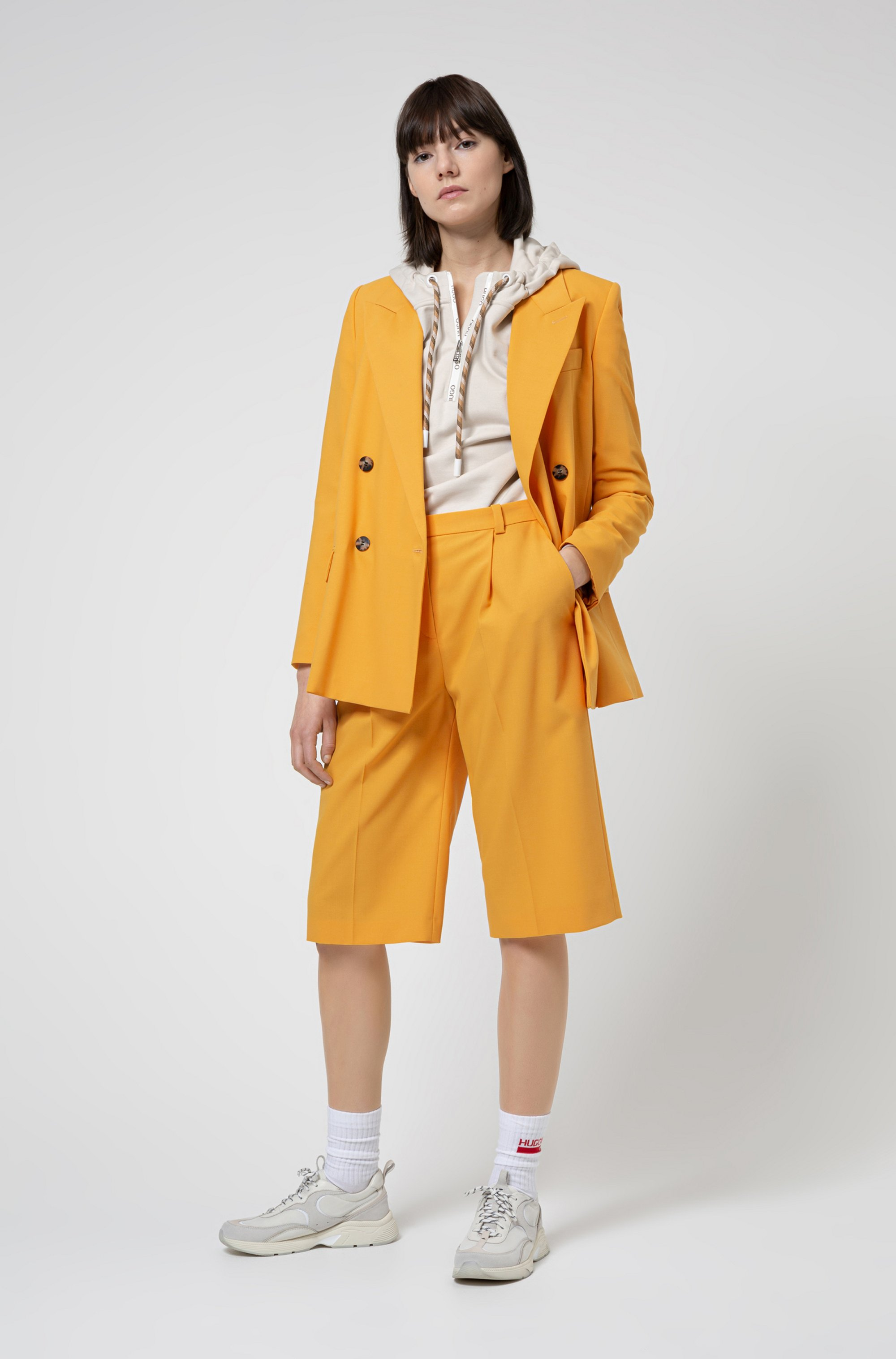 Double-breasted relaxed-fit jacket in stretch crepe