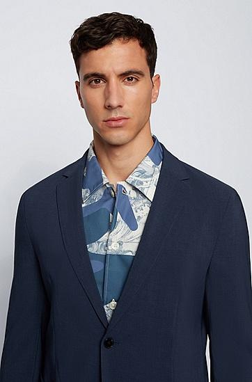 混色面料单排扣修身夹克,  497_Open Blue
