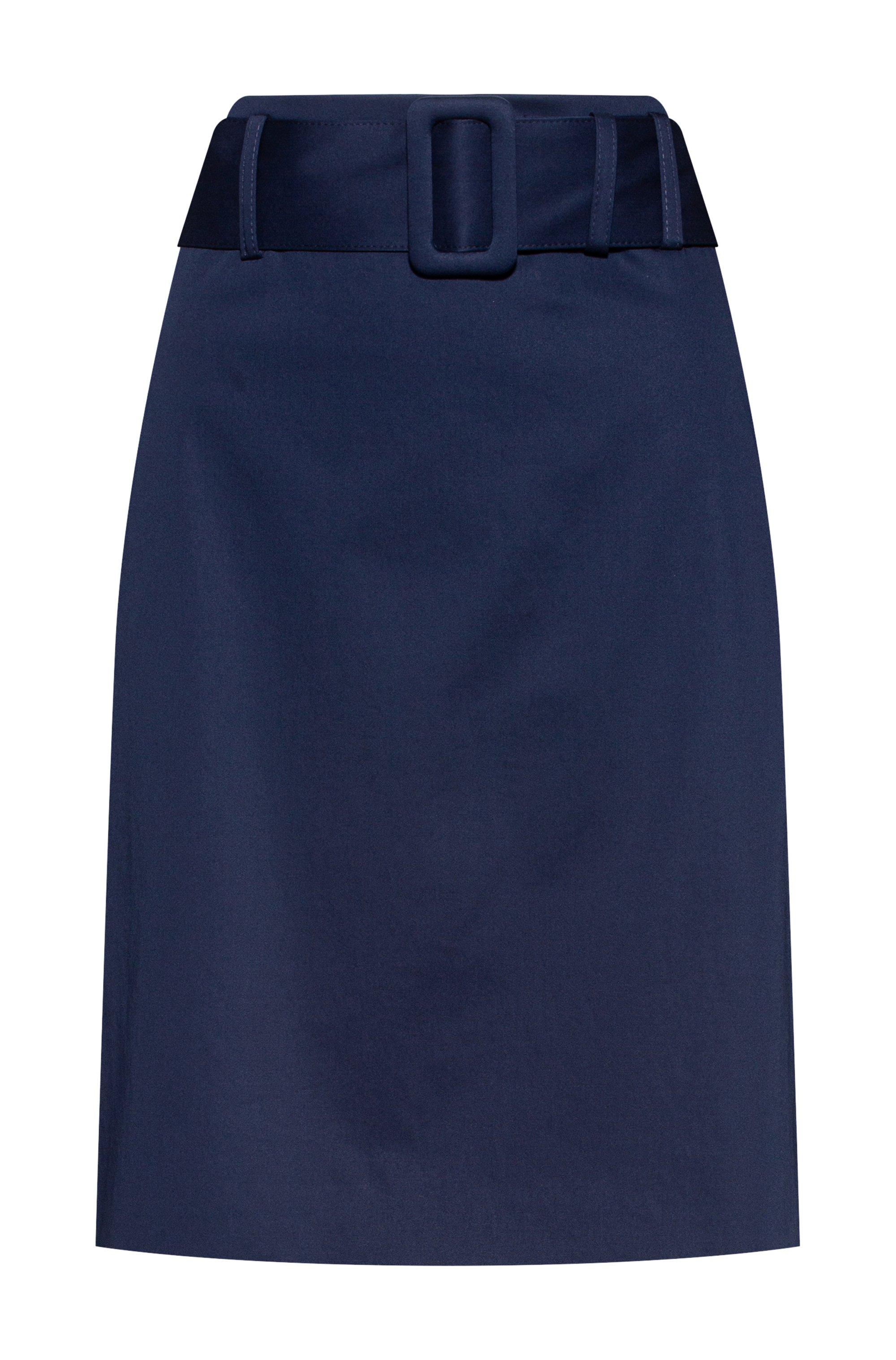Pencil skirt in stretch cotton with belted waist, Dark Blue