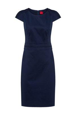 Stretch-cotton shift dress with feature stitching, Dark Blue