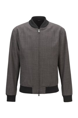 Slim-fit blouson jacket in micro-patterned virgin wool, Dark Grey