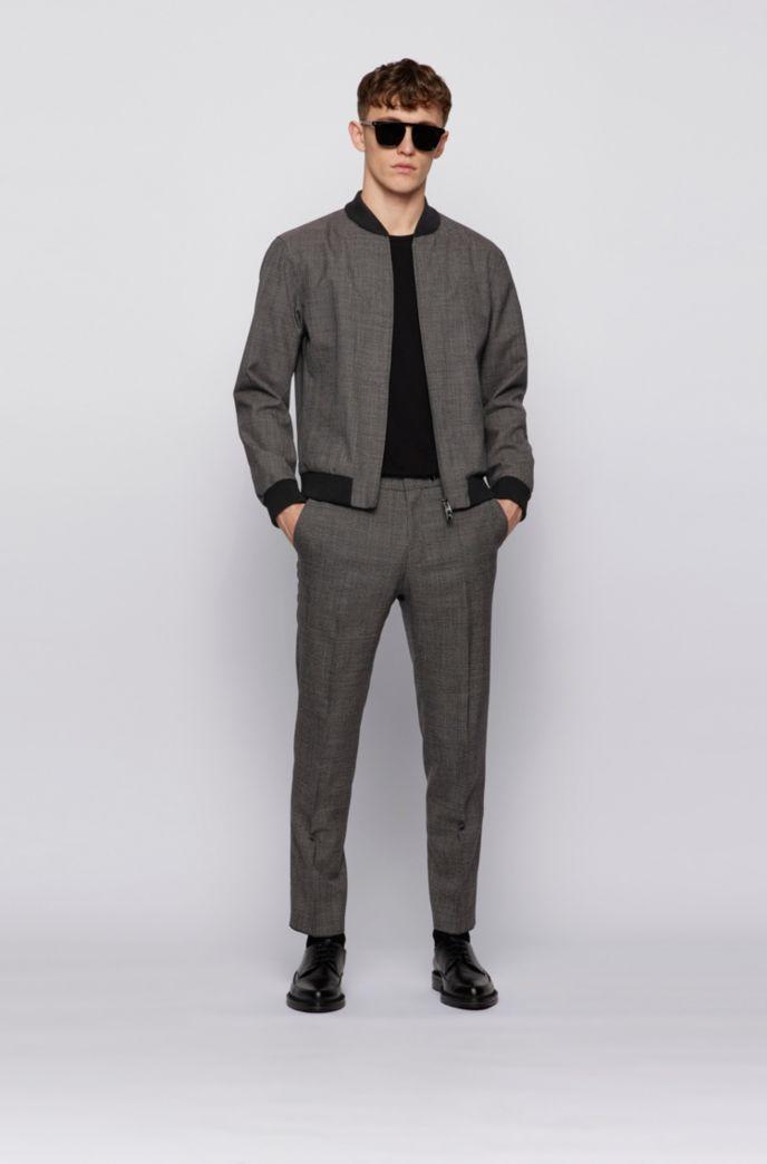 Slim-fit blouson jacket in micro-patterned virgin wool