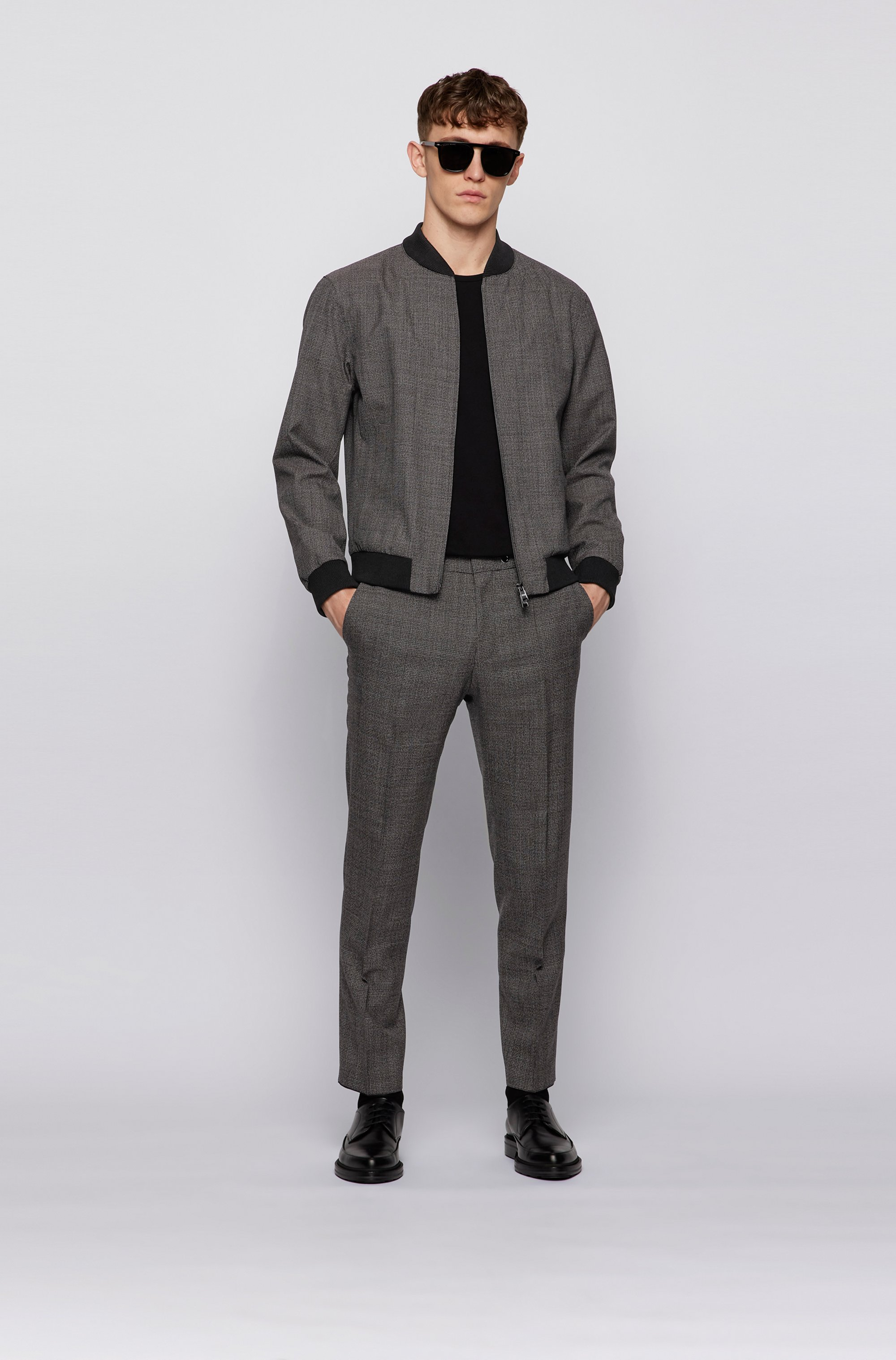 Slim-fit blouson jacket in micro-patterned virgin wool