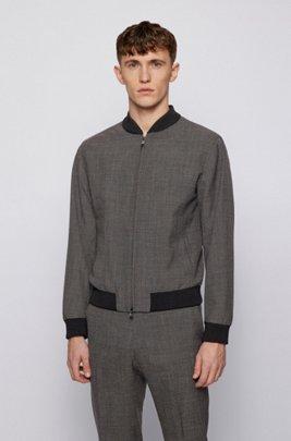 Slim-fit blouson jacket in micro-patterned virgin wool, Dark Grey