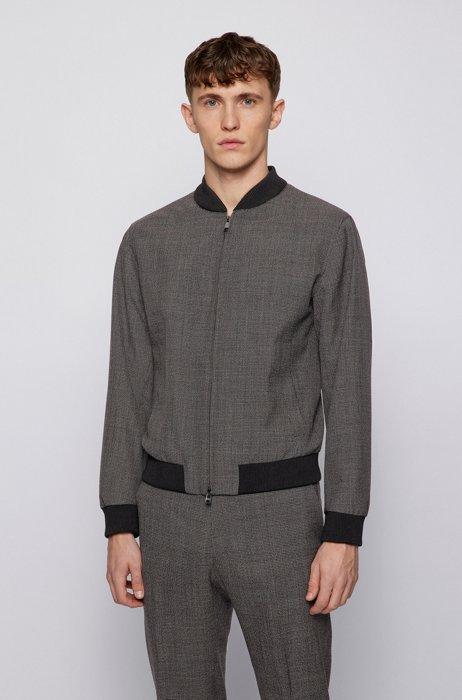 Giubbotto slim fit in lana vergine con micro motivo, Grigio scuro