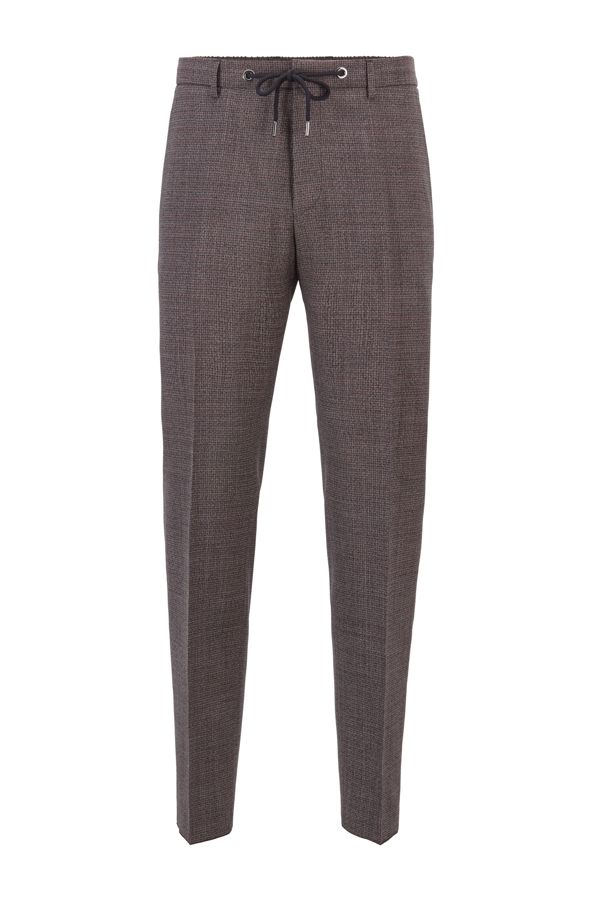 Pantaloni slim fit in lana vergine con micromotivo, Marrone a motivi