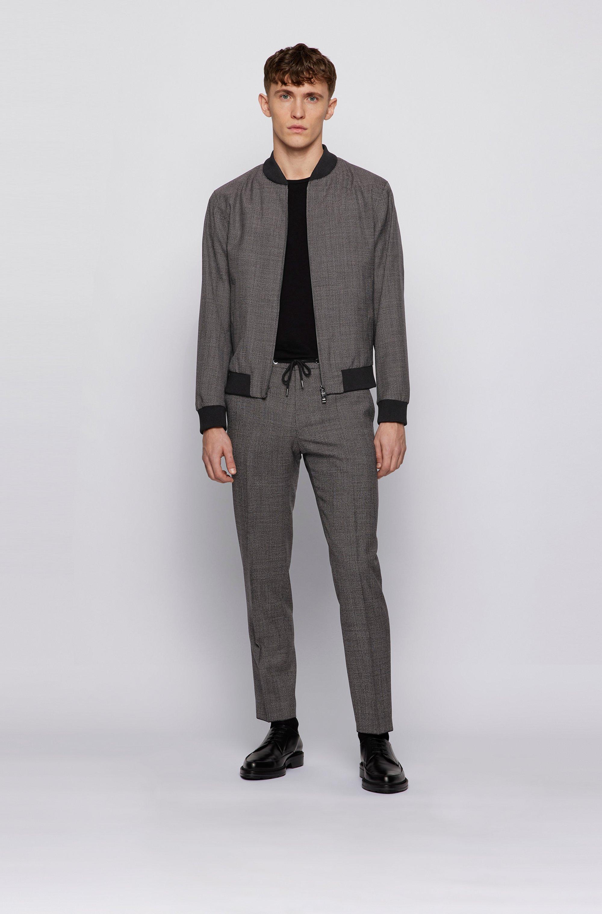 Slim-fit trousers in micro-patterned virgin wool