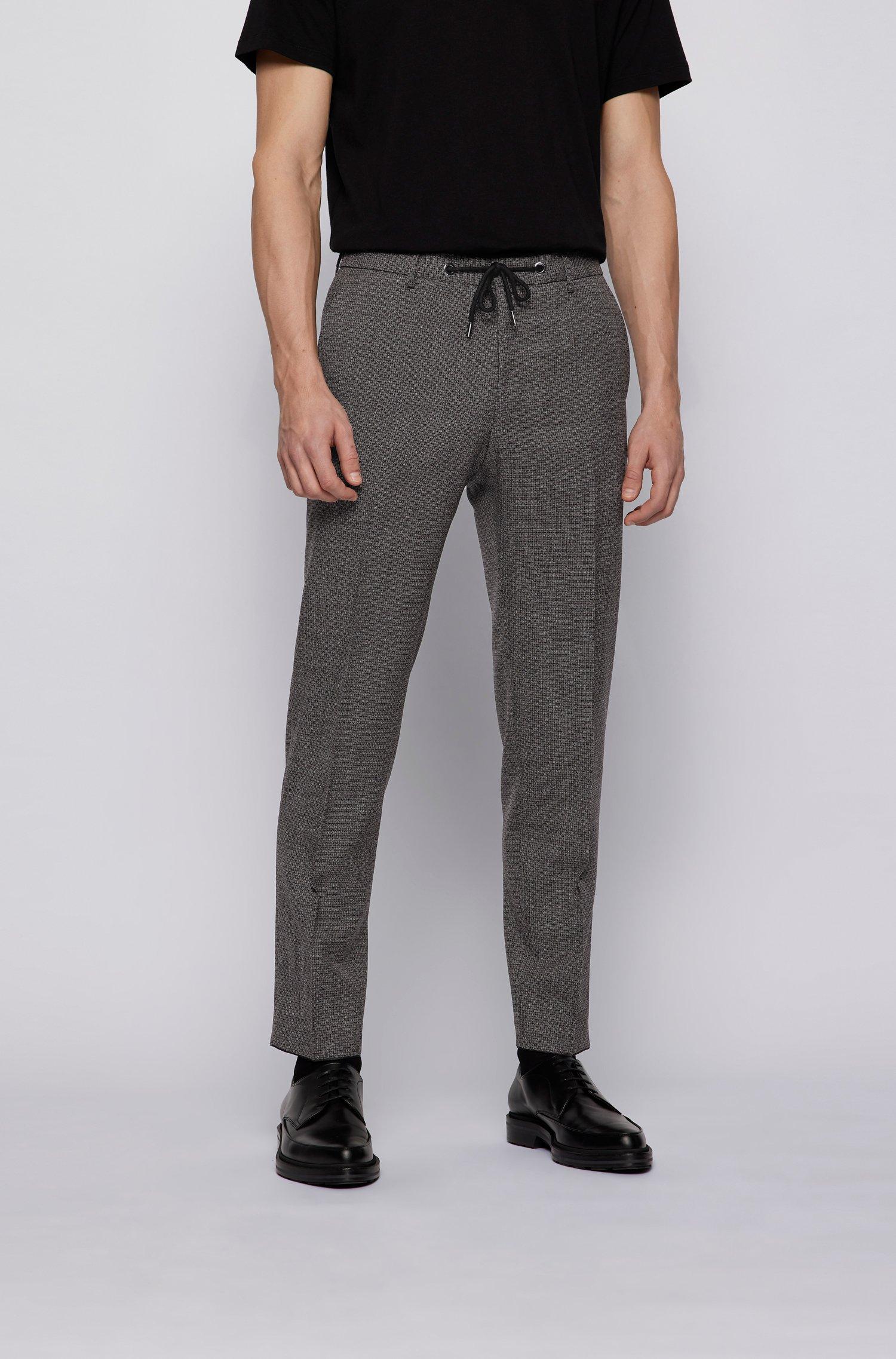 Slim-fit trousers in micro-patterned virgin wool, Brown Patterned