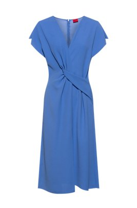 V-neck midi dress in flared shape with twist detail, Blue