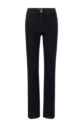 Jeans regular fit a gamba larga in denim blu-nero, Nero