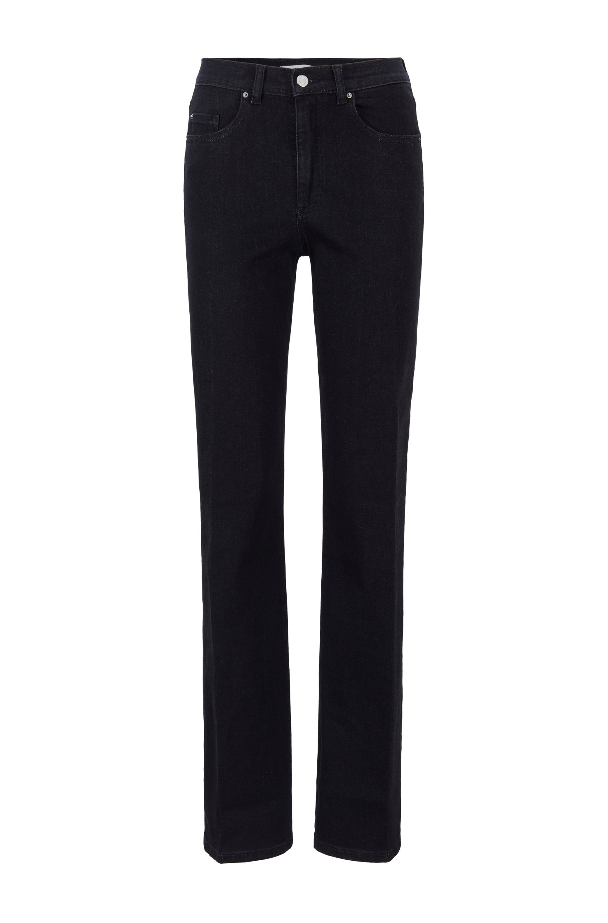 Wide-leg regular-fit jeans in blue-black denim, Black