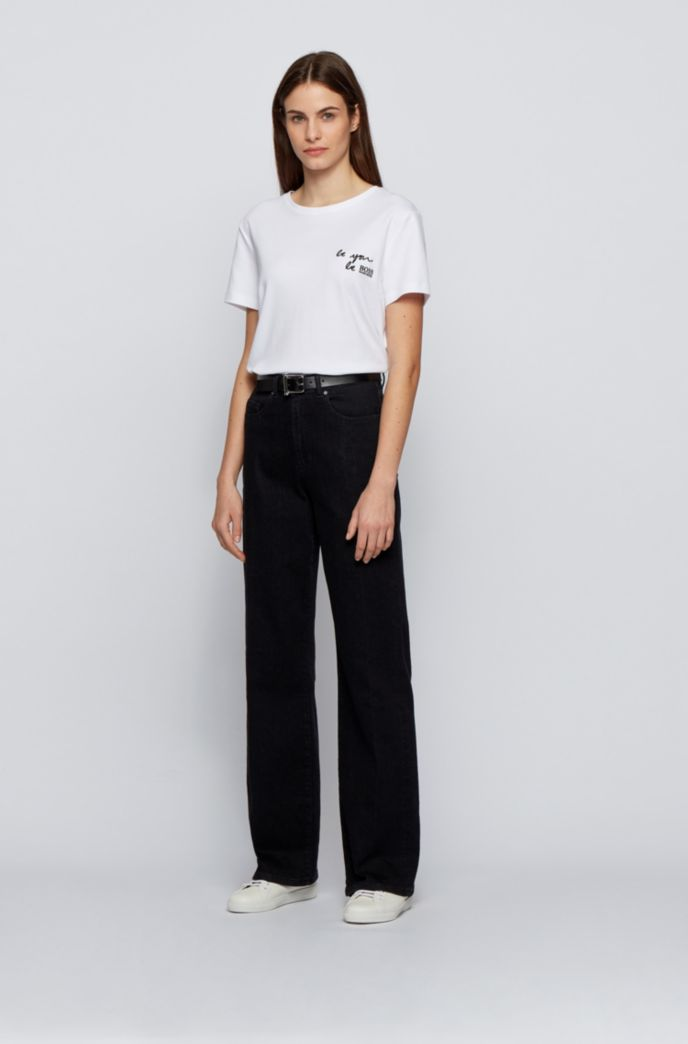 Wide-leg regular-fit jeans in blue-black denim