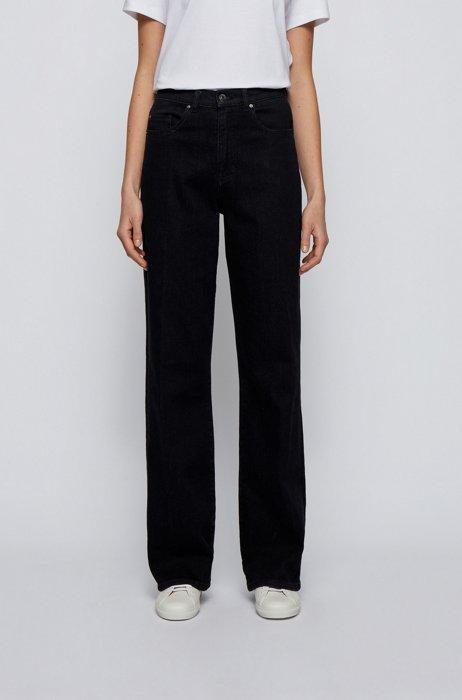 Jeans regular fit a gamba larga in denim blu-nero, Nero