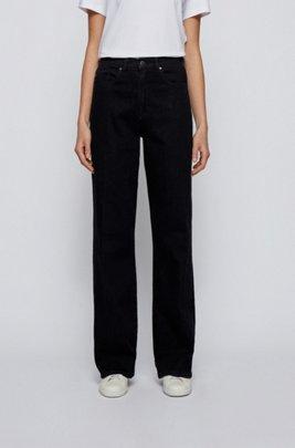Wide-leg regular-fit jeans in blue-black denim, Black