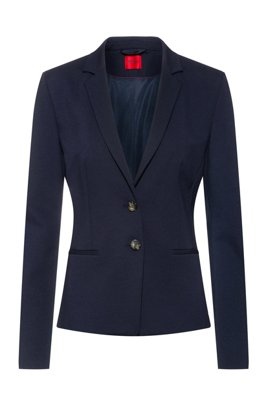 Slim-fit jacket in stretch jersey with full lining, Dark Blue