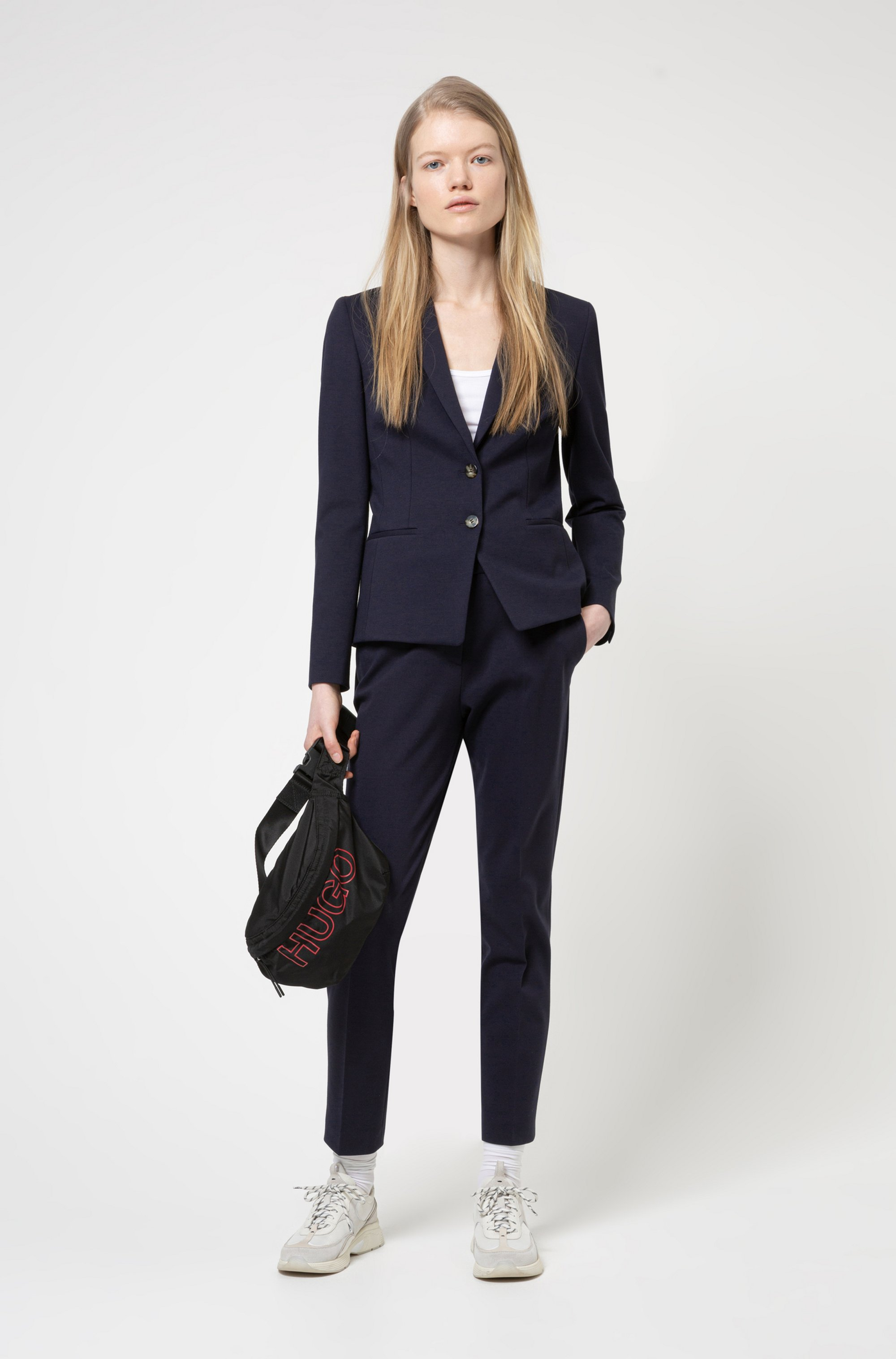 Slim-fit jacket in stretch jersey with full lining