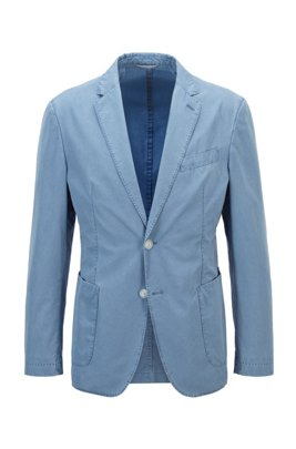 Slim-fit jacket in cotton with two-button closure, Light Blue