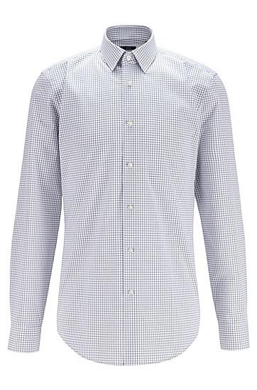 易烫棉质格纹修身衬衫,  411_海军蓝色