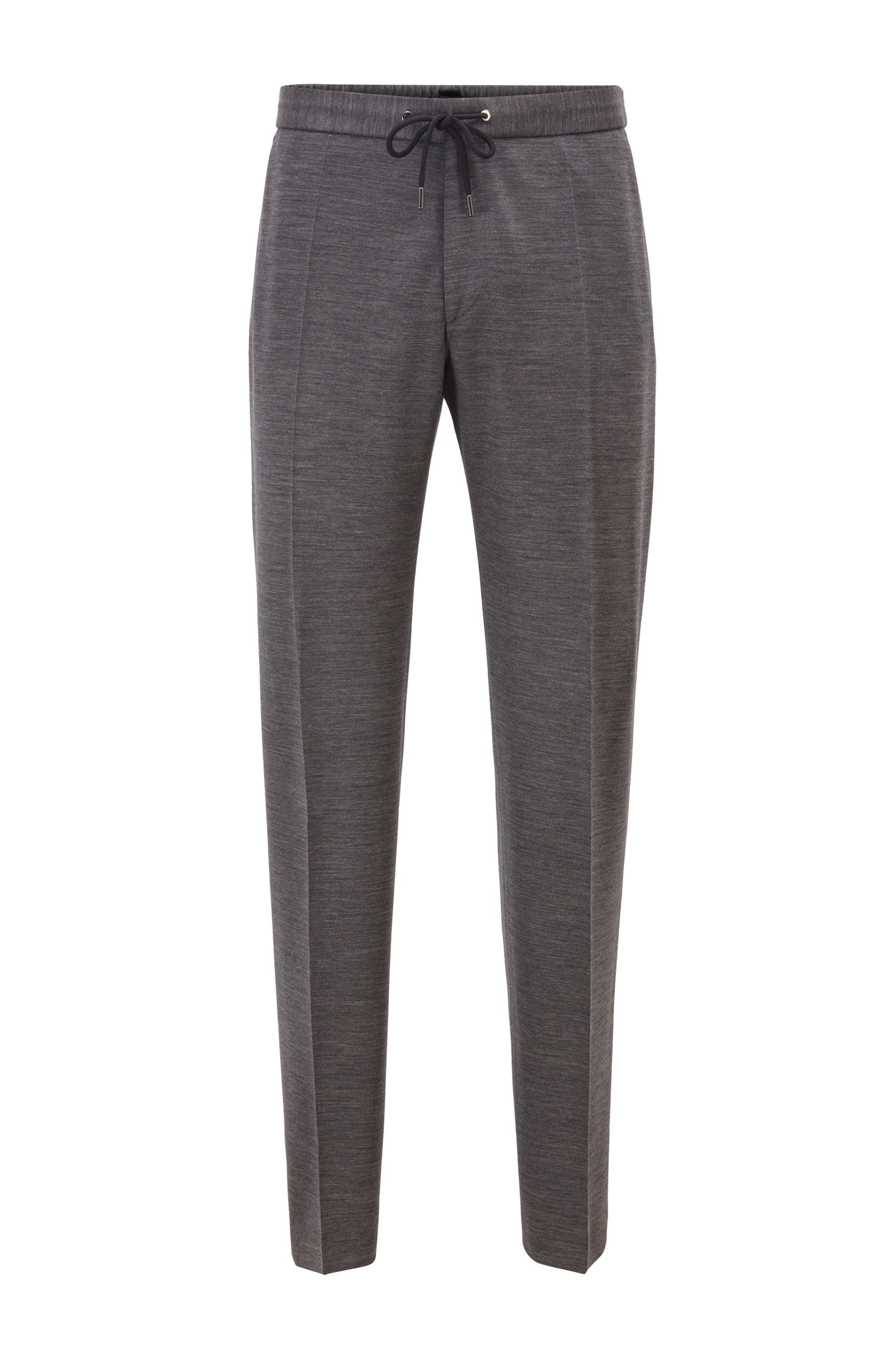 Slim-fit trousers in traceable wool with drawstring waist, Dark Grey
