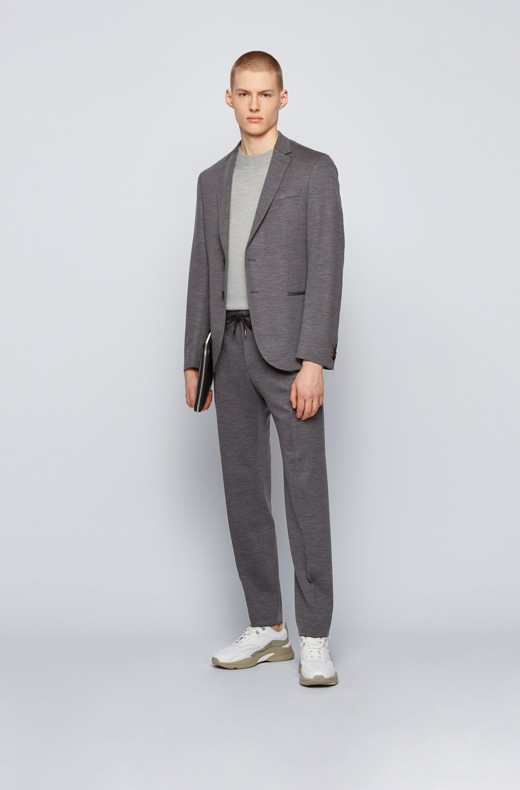 Slim-fit trousers in traceable wool with drawstring waist