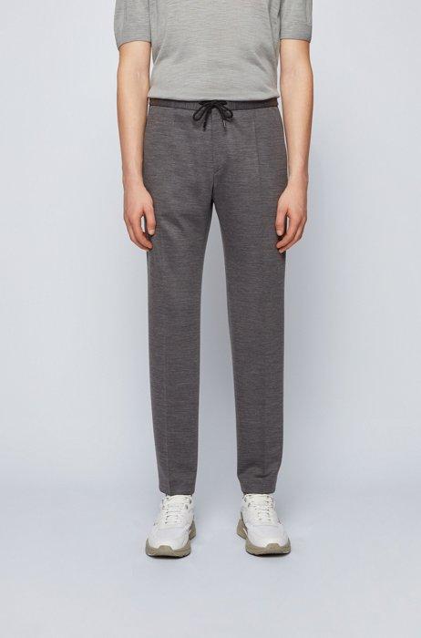 Pantalon Slim Fit en laine traçable avec taille à cordon de serrage, Gris sombre