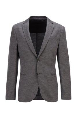 Meliertes Slim-Fit Sakko aus nachverfolgbarer Schurwolle, Grau