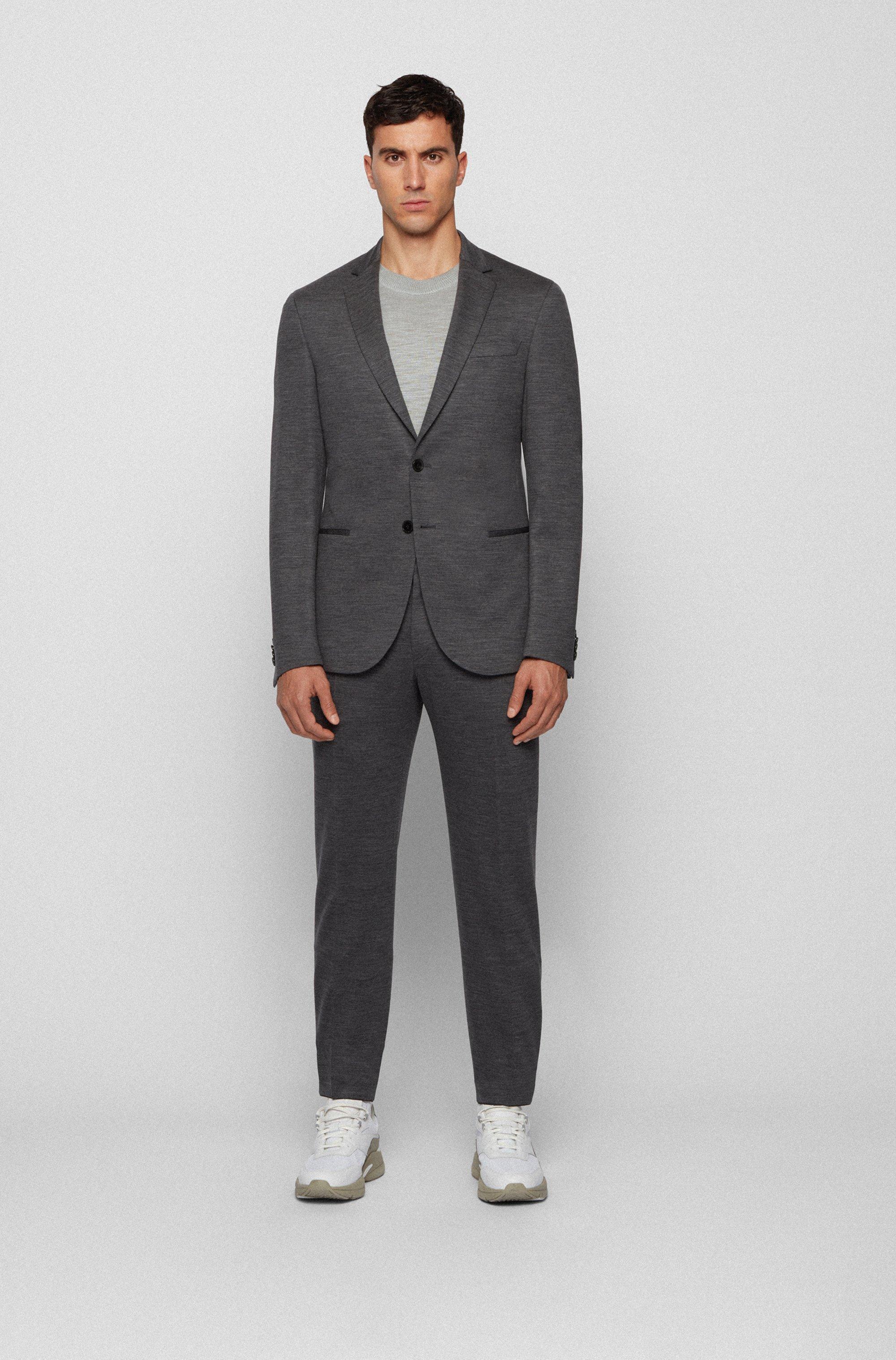 Slim-fit jacket in traceable melange virgin wool