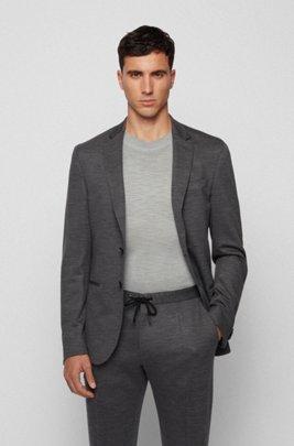Slim-fit jacket in traceable melange virgin wool, Grey