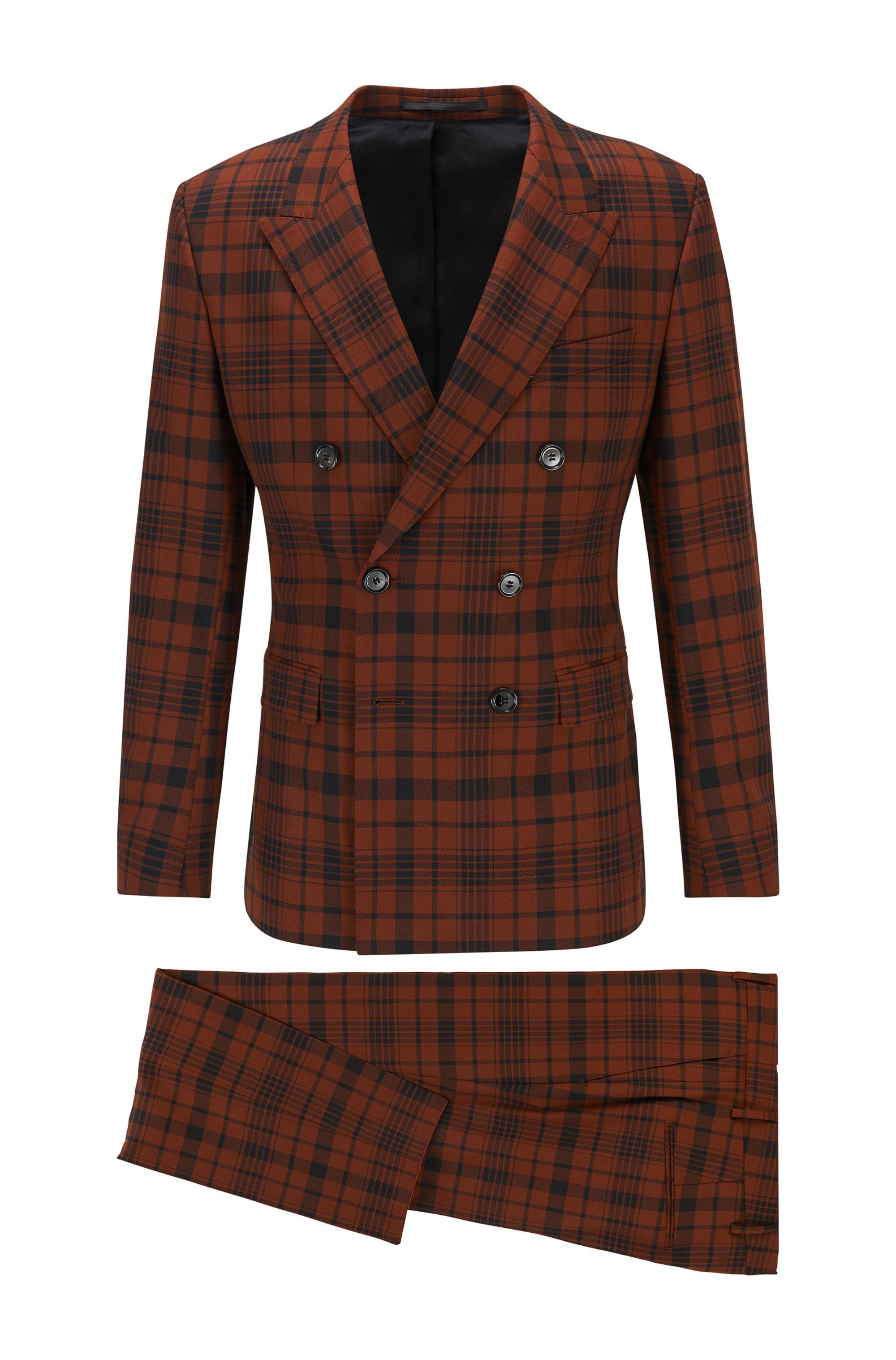Karierter Extra Slim-Fit Anzug aus Stretch-Schurwolle, Braun gemustert