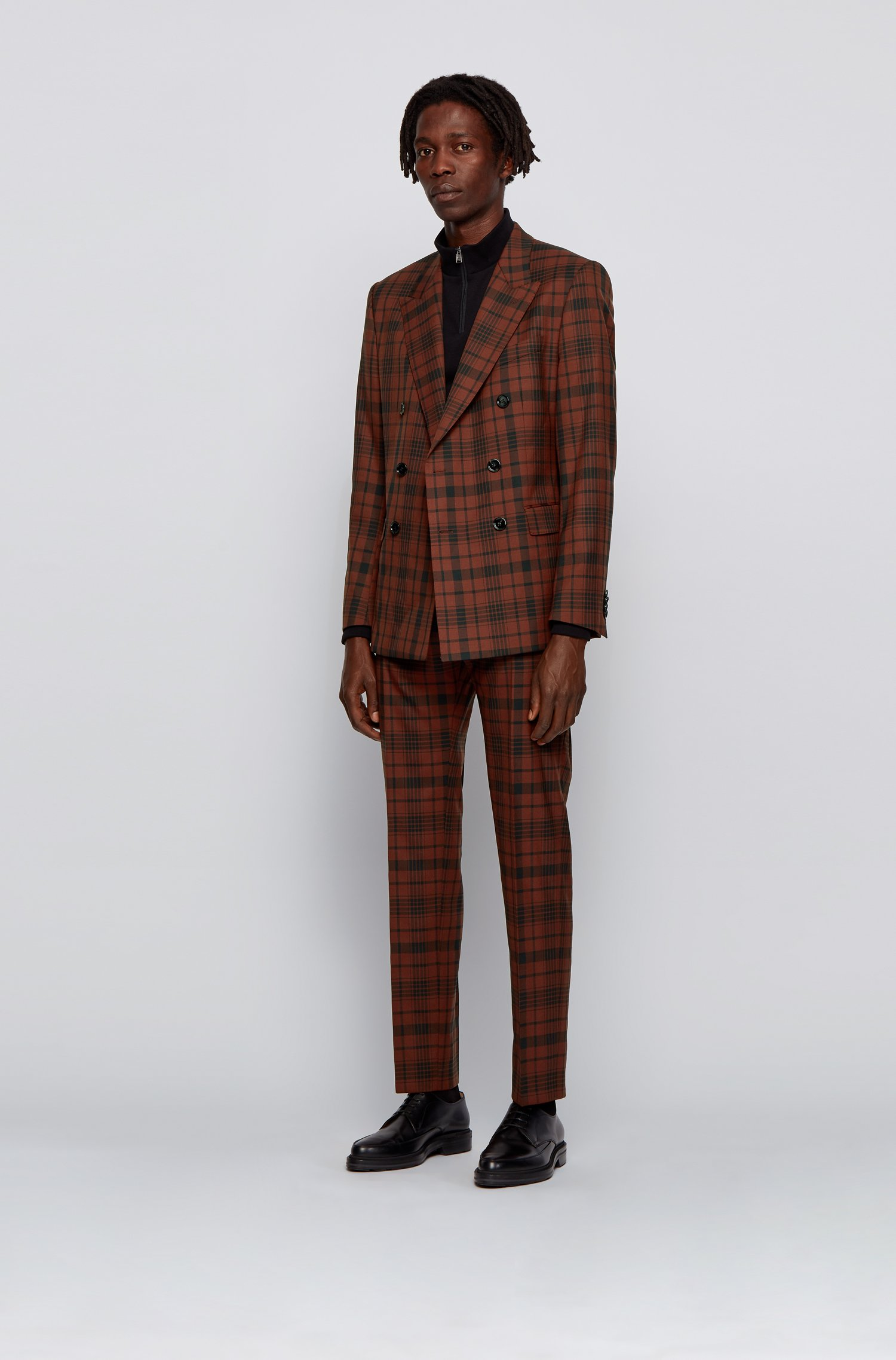 Extra-slim-fit suit in checked stretch wool, Brown Patterned