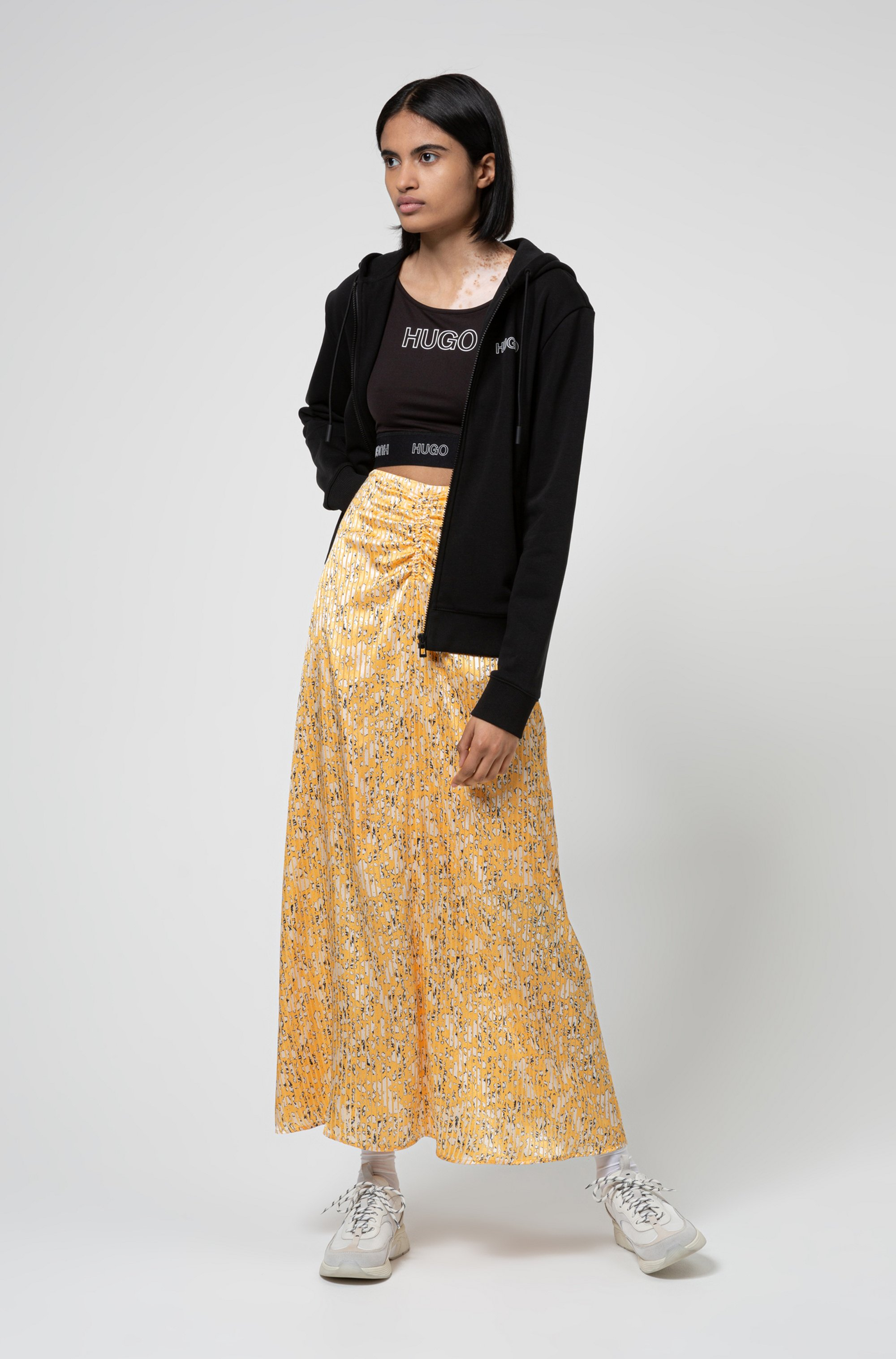 High-waisted midi skirt in brushstroke-print fabric