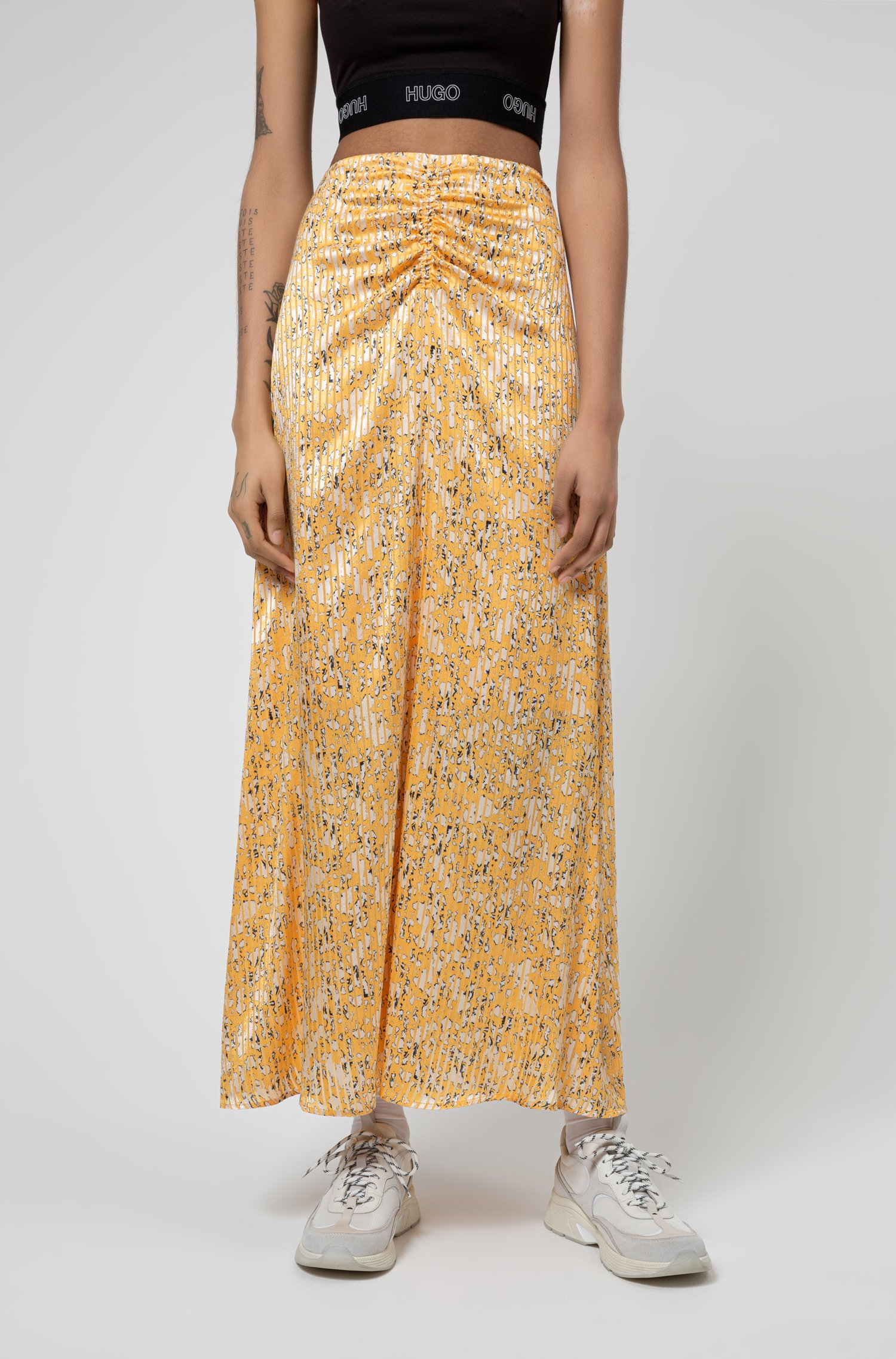 High-waisted midi skirt in brushstroke-print fabric, Patterned