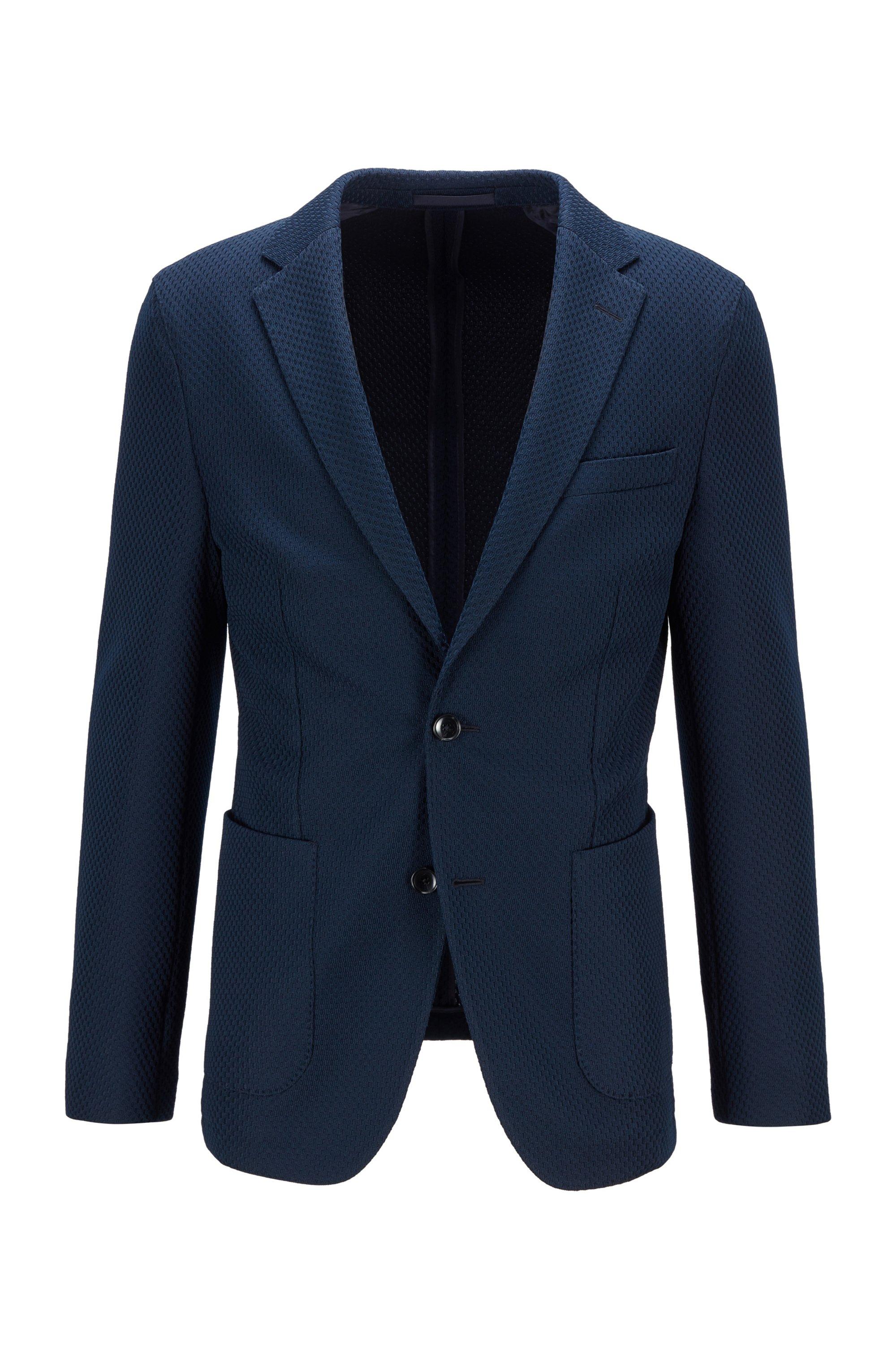 Slim-fit jacket in micro-patterned fabric, Dark Blue