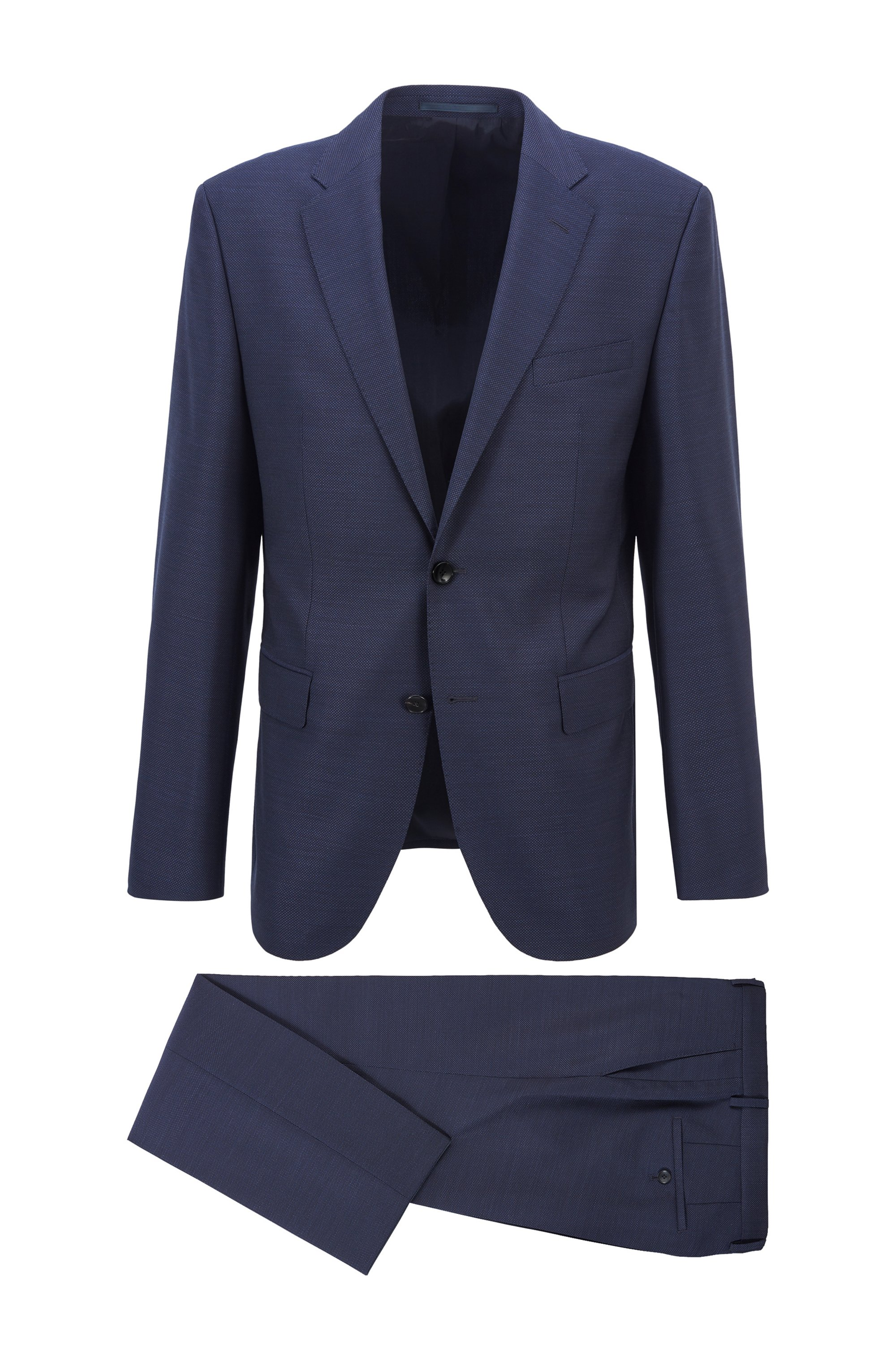 Regular-fit suit in virgin wool with natural stretch, Dark Blue