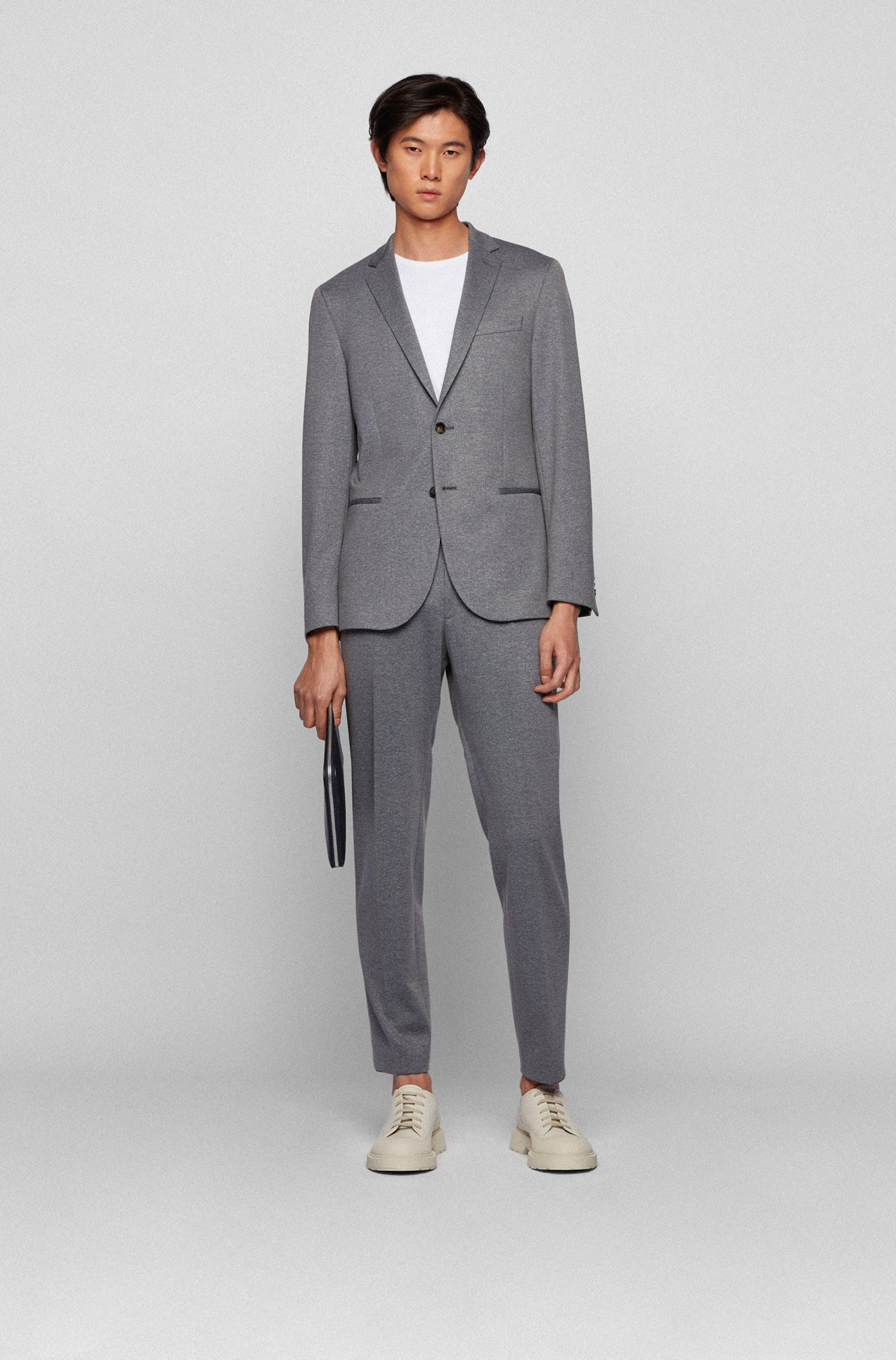 Micro-patterned slim-fit jacket in stretch jersey