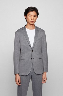 Micro-patterned slim-fit jacket in stretch jersey, Grey