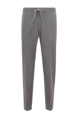 Micro-patterned slim-fit trousers with drawstring waist, Silver