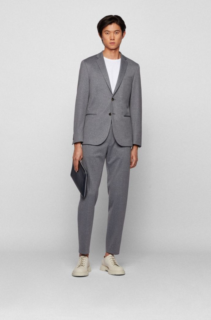 Micro-patterned slim-fit trousers with drawstring waist