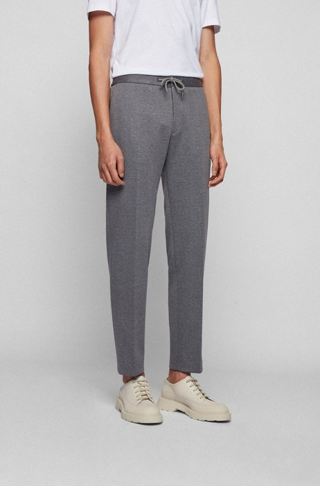Slim-fit broek met microdessin en tailleband met trekkoord, Zilver