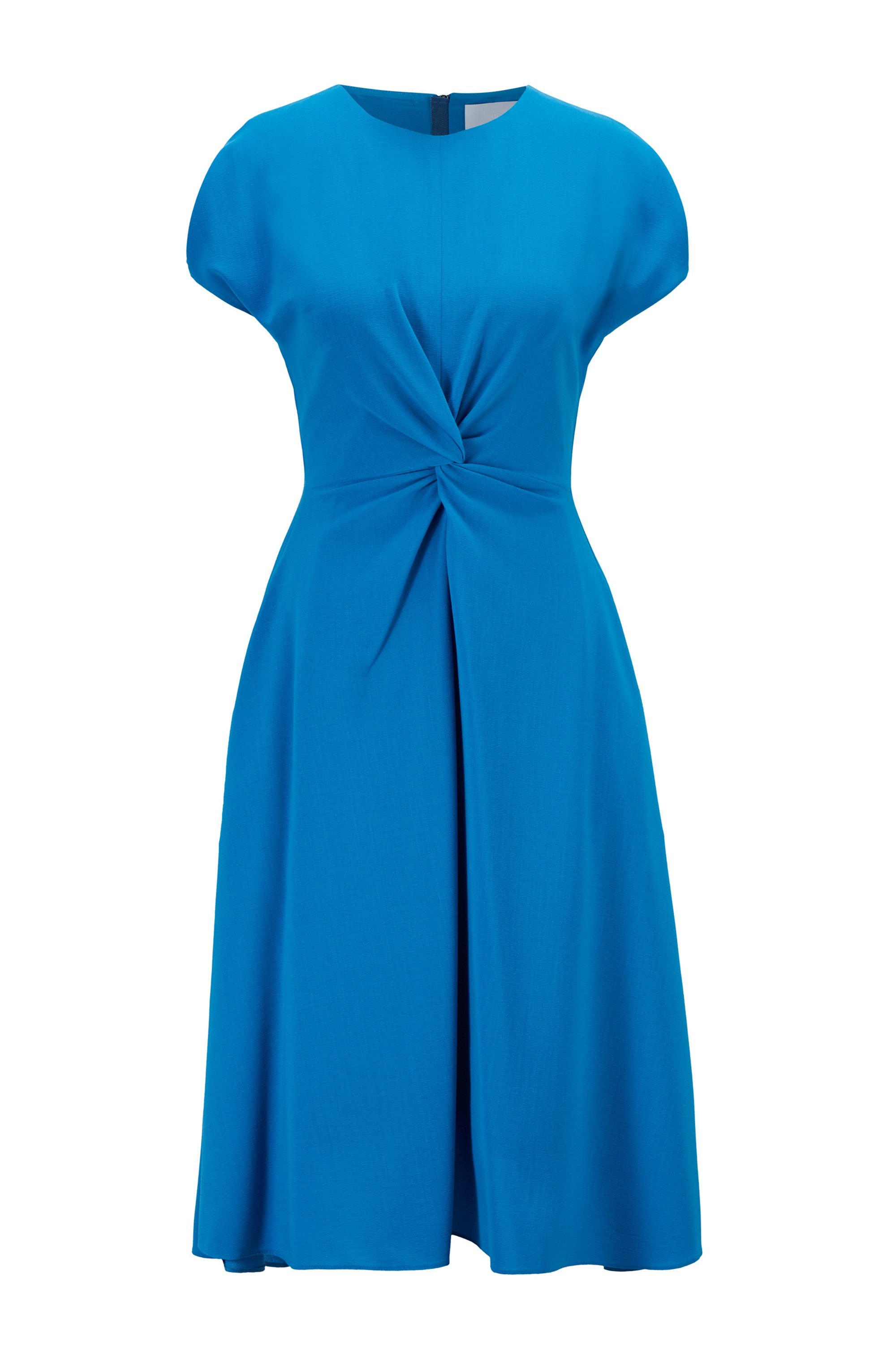 Short-sleeved wool-blend dress with knot detail, Blue