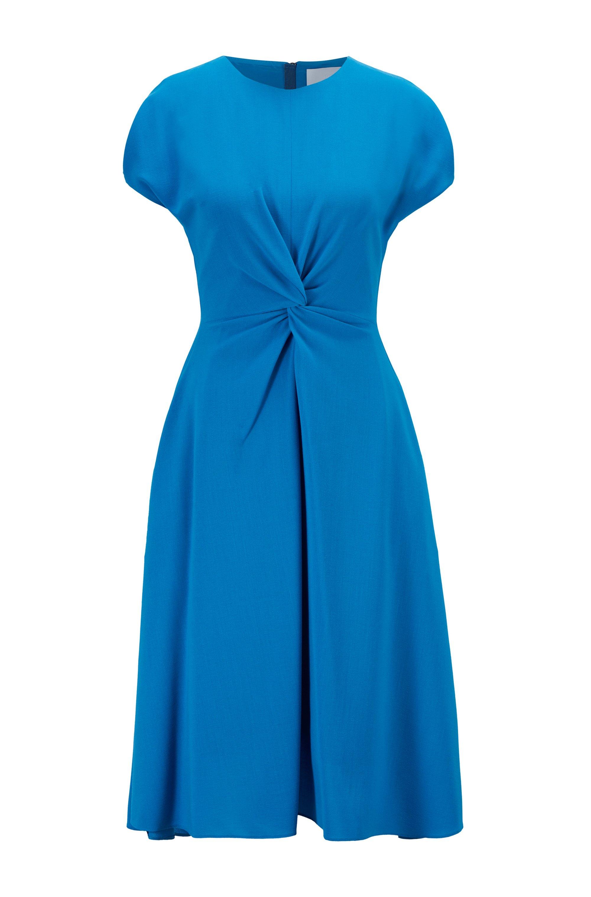 Kurzarm-Kleid aus Woll-Mix mit Knoten-Detail, Blau
