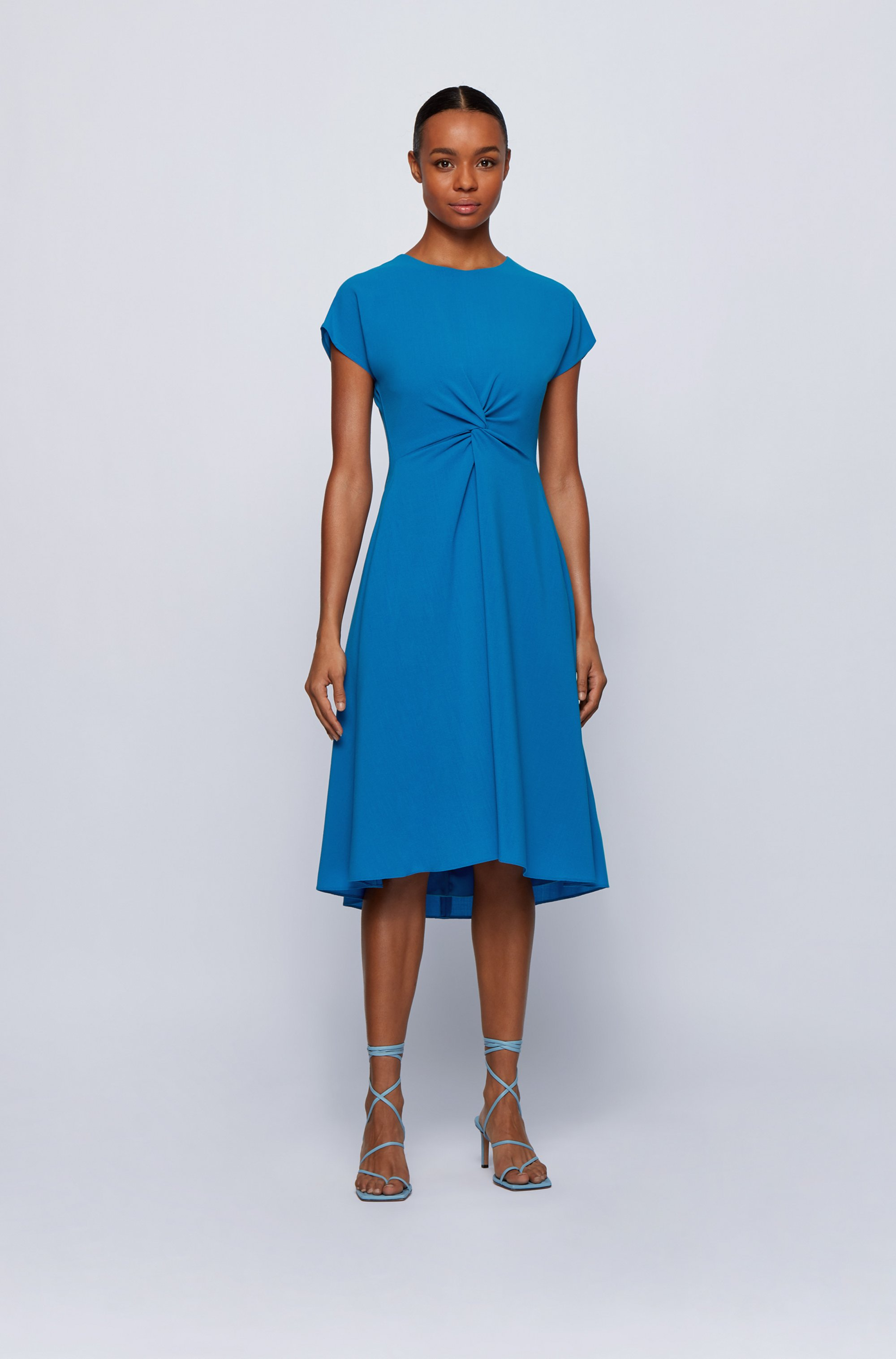 Short-sleeved wool-blend dress with knot detail
